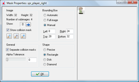 The Mask properties form for the player's sprite.
